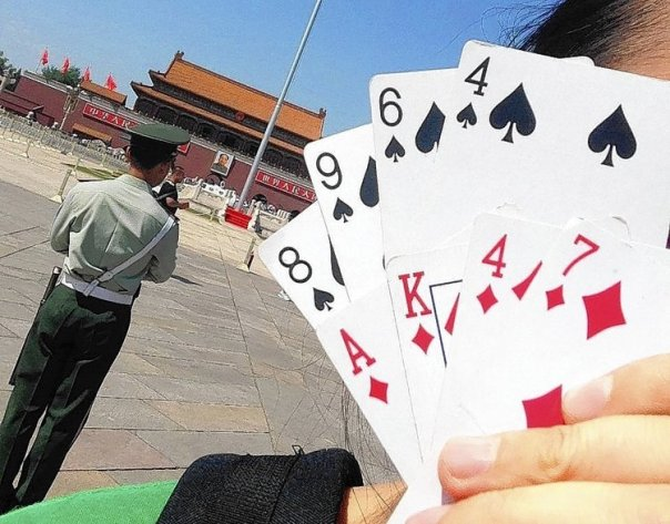 Playing cards at Tiananmen Square